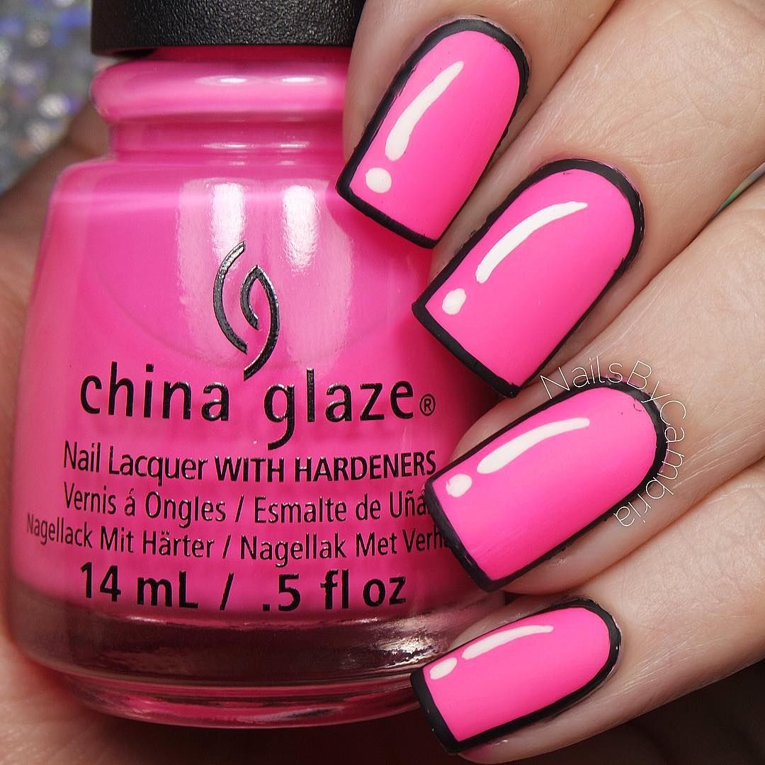 Hot Pink Cartoon Inspired Pop Art Nails Neon Nails Fashion And