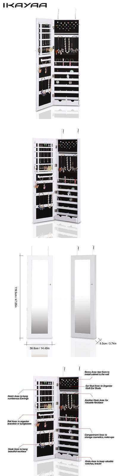 Jewelry Boxes 3820 Lockable Mirrored Jewelry Cabinet Armoire Mirror