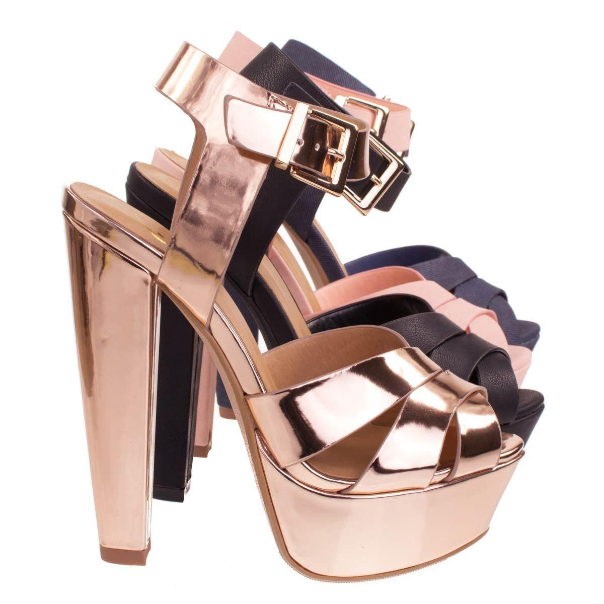 c69f4374597 Sedona Rose Gold by Delicious, Towering High Platform Block Heel ...