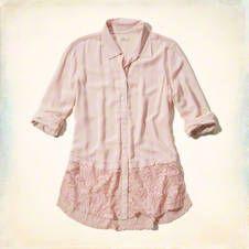 Drapey Lace Hem Shirt