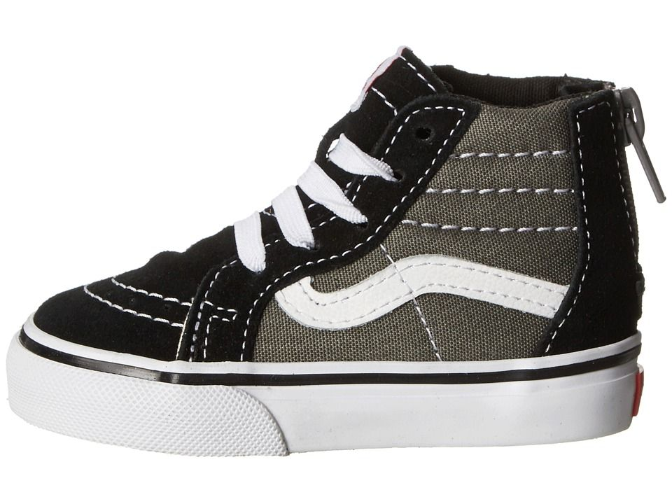 7ac8e910df Vans Kids Sk8-Hi Zip (Toddler) Boys Shoes (2 Tone) Black Charcoal ...