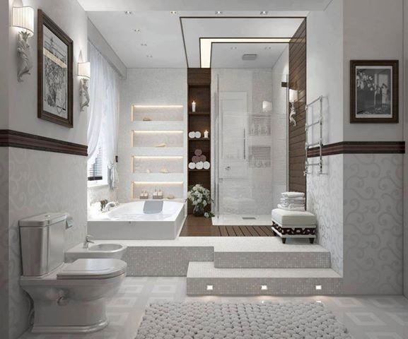 Style + volumes + douche + baignoire + plateforme + étagères