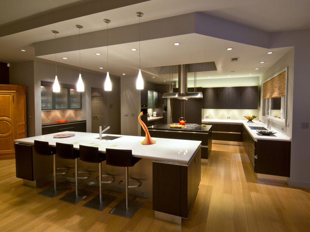 Dual Island U Shaped Designer Kitchen Snaidero IDEA Featuring Dark Oak Wood  Cabinetry And Light