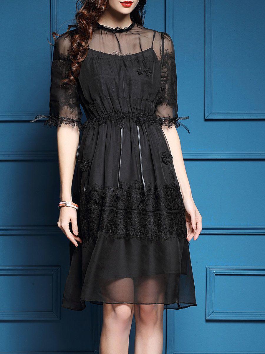 Black mesh paneled half sleeve aline midi dress mesh panel black