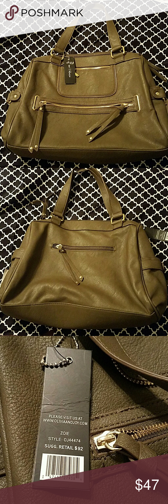 Olivia + Joy Olive Green Zoie handbag Brand new with tags Olive green tote with gold embellishments Olivia + Joy Bags Totes