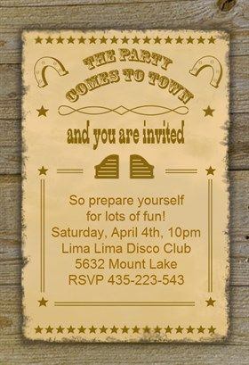 Western Party Printable Invitation Template Customize Add Text And Photos Print Or Download For Free