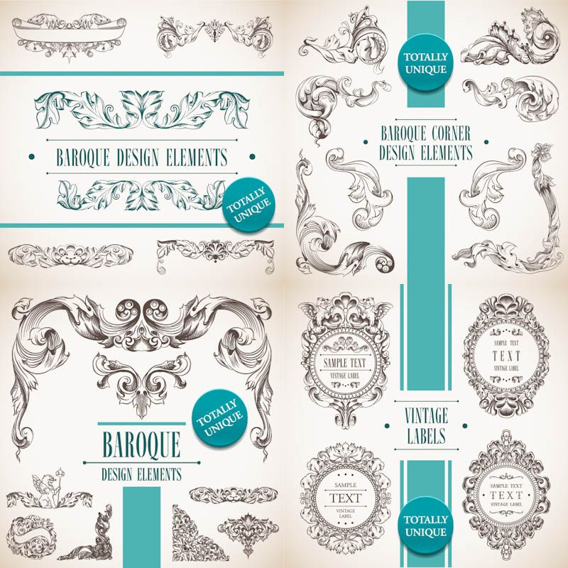 4 sets of vector decorative baroque design elements in classic 4 sets of vector decorative baroque design elements in classic vintage style with floral frames decorative borders corners and dividers for your junglespirit Images