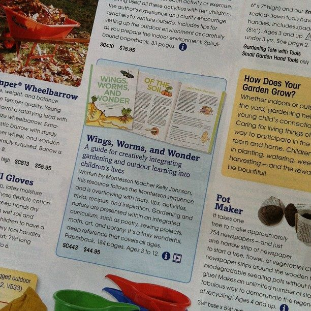 I have to admit, after 2.5 years I still get a rush of excitement when ever a Montessori Services catalogue arrives and I see my book in it!!  http://www.montessoriservices.com/wings-worms-and-wonder