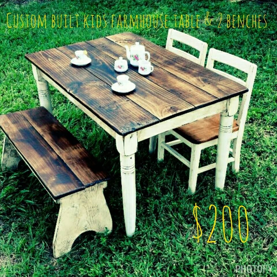 Childs Farmhouse table set Table and 2 benches 200