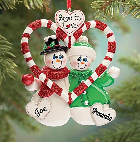 Miles Kimball Personalized Candy Cane Snow Couple Ornament ** Read ...
