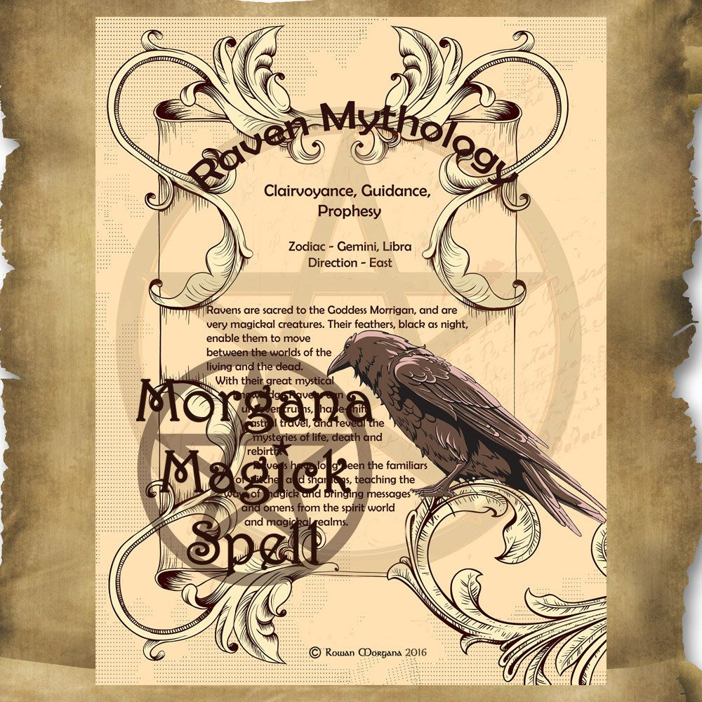 RAVEN MYTHS And CORRESPONDENCES Printable Book Of Shadows