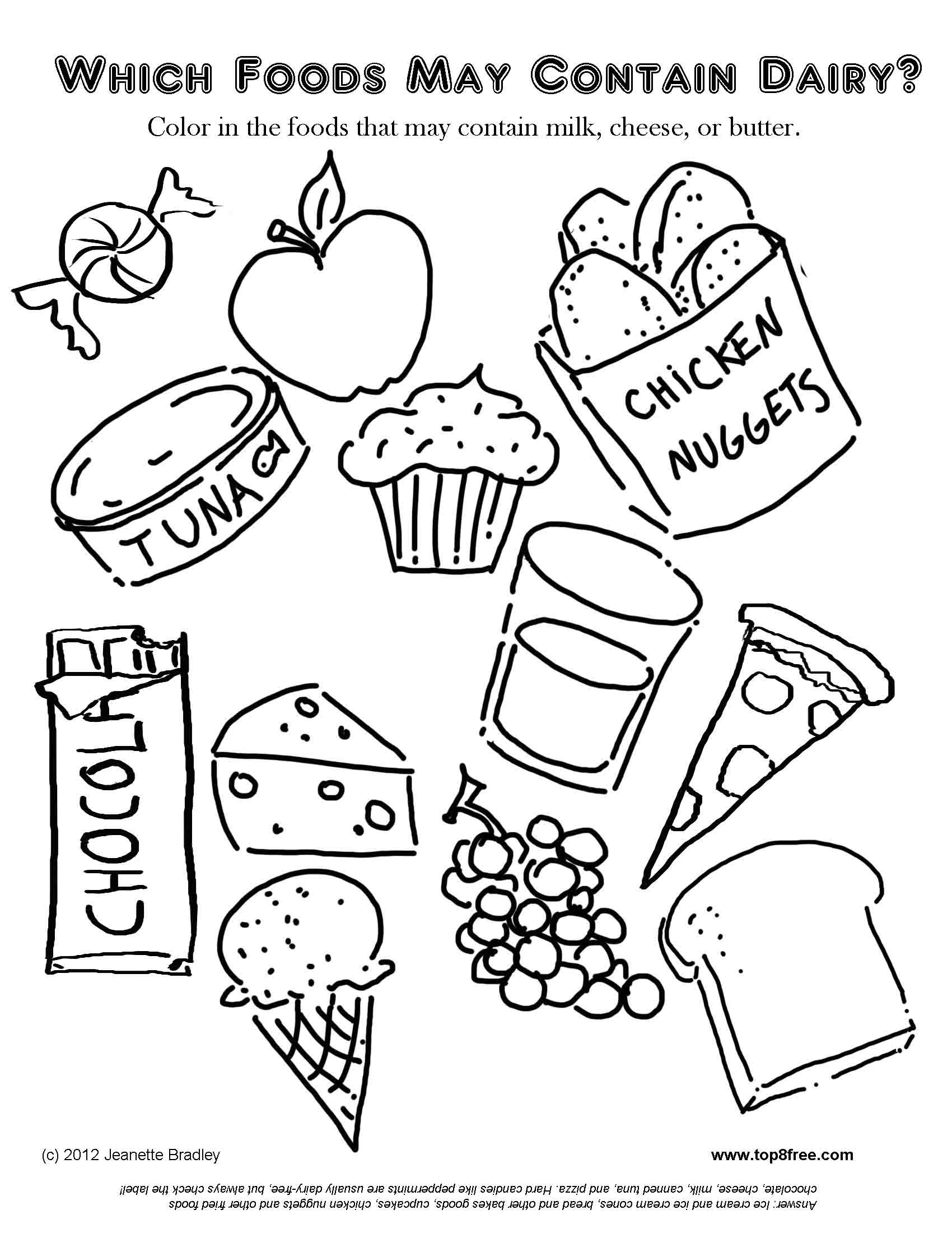 Dairy Allergy Coloring Page Food Coloring Pages Free Kids Coloring Pages Coloring Pages For Kids