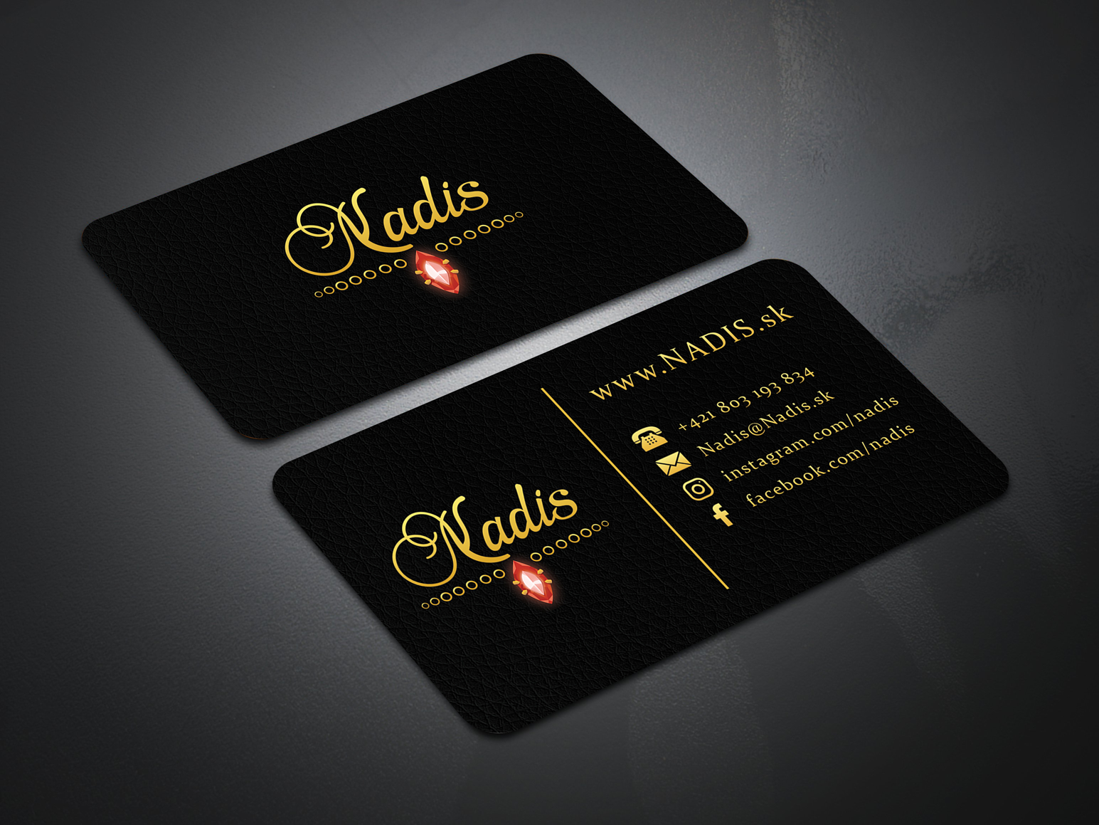 Nadis Luxury Business Card For A Company Named Nadis Gems Jewelry And Accessories Online S Luxury Business Cards Online Shop Accessories Jewelry Business