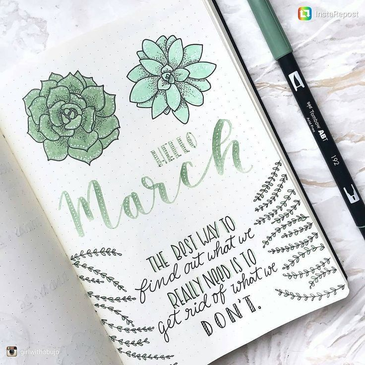 """1,875 Likes, 12 Comments - BJC   Bujo collection (@bulletjournalcollection) on Instagram: """"Gorgeous March page from @girlwithabujo . . . . . . . #bulletjournal #bulletjournalcommunity #bujo…"""""""