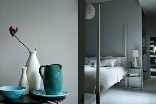 Grey walls with turquose details