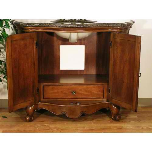 W5307 Sink Chest - with detailed hand carved moldings with Two doors and a hidden interior drawer with full extension glides for storage.