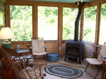 Cozy Wood Stove In Screened In Porch Great Idea House