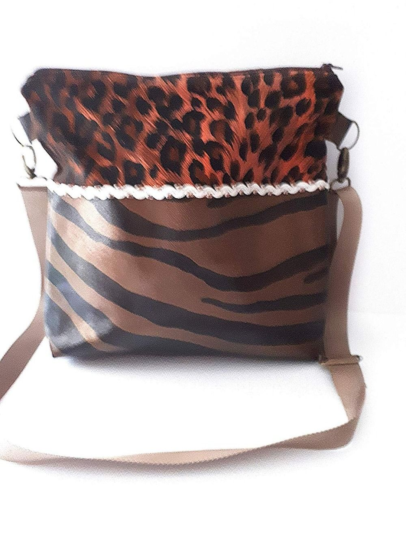 cdeec8ce2a Sac bandoulière réglable simili cuir imitation peau, sac besace marron  noir, sac à main