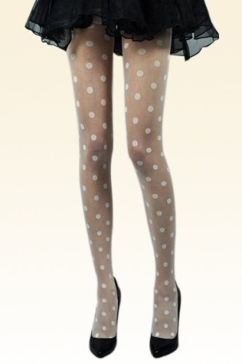 White Dots Lace Tights