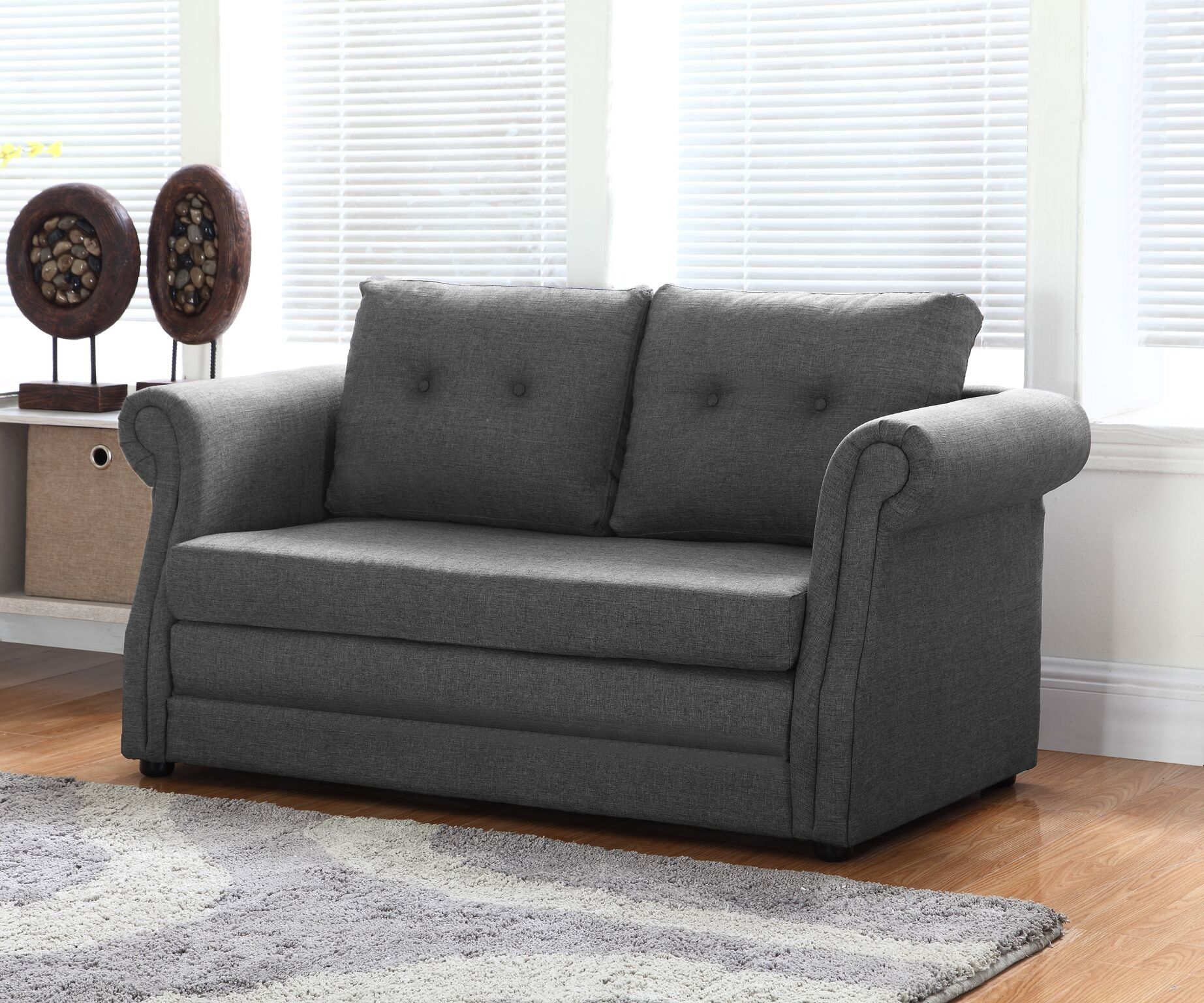 Container Direct Elvin Contemporary Linen Fabric Scroll Armrest Sofa Bed Dark Grey Check Out The Image By Visiting The Link It Is Sofa Sofa Bed Furniture