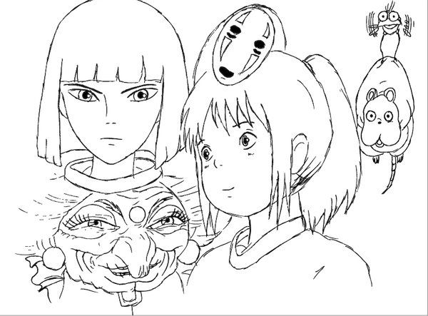 Spirited Away Coloring Books Studio Ghibli Ghibli Art
