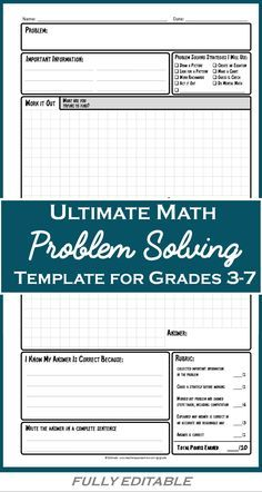 Math Problem Solving Worksheets A Structured Strategy For Solving Any Problem Math Problem Solving Education Math Math Instruction