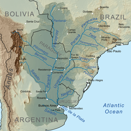 Map Of The Rio De La Plata Basin Showing The Parana River And Its