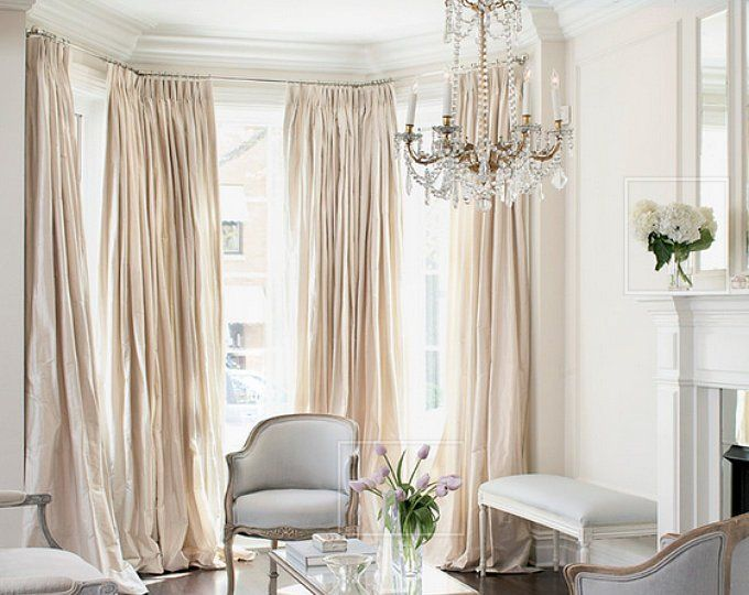 French Pleated Drapes Two 27w X 90l Pinch Pleats Fan Pleats Etsy London Apartment Decor French Country Living Room Curtains Living Room
