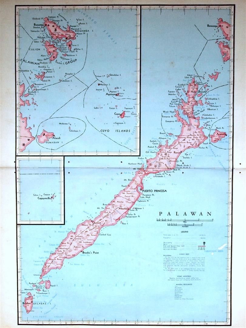 1959 Large Vintage Map of Palawan Province the Philippines 4500