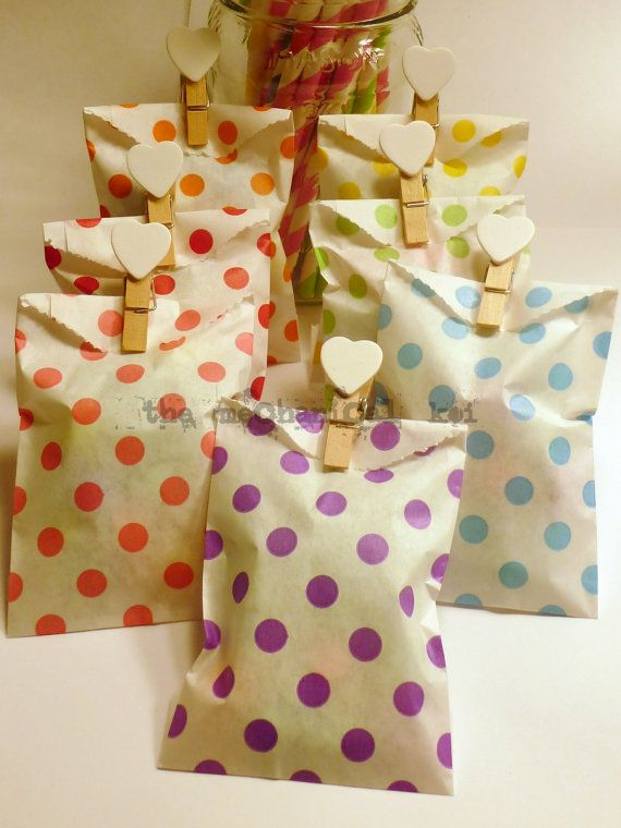 20 Bitty Bags Kraft Small White Rainbow Dot Flat Paper Bag Gift Wrap Whisker Graphics