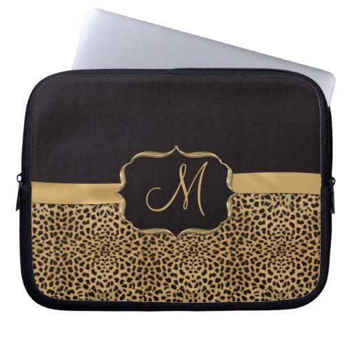 Leopard Print Ornate Monogram Laptop Sleeves #laptopsleeves #leopard #monogram