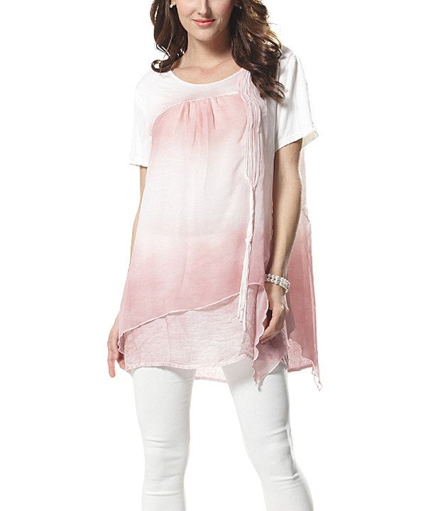 Look at this Simply Couture Pink & White Ombré Layered Scoop Neck Top on #zulily today!