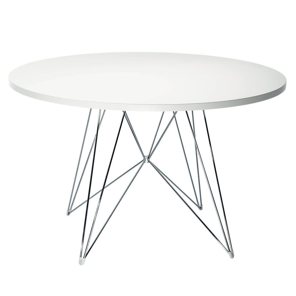 Magis Tavolo XZ3 Tisch rund, weiß Gestell chrom Ø 120 cm: Amazon ...