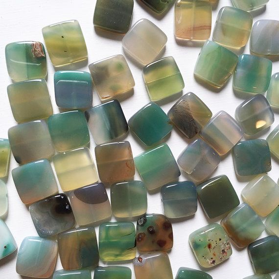 20mm Flat Square Green Agate by SimonandRuby on Etsy