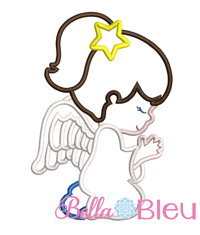 Praying Angel Applique Embroidery Design Hand Embroidery Hand