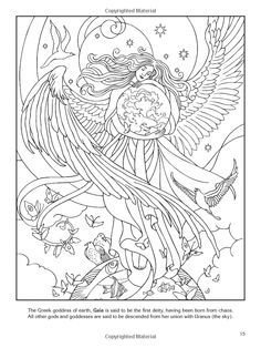 Wiccan Coloring Pages Colouring Adult Advanced Myth God Goddess Wings Stars Butterfly