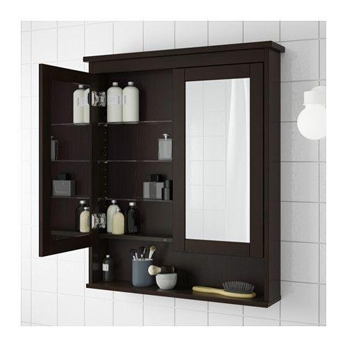 Hemnes Mirror Cabinet With 2 Doors Black Brown Stain 32 5 8x6 1 4x38 5 8 Ikea Mirror Cabinets Ikea Hemnes Mirror Bathroom Mirror Cabinet