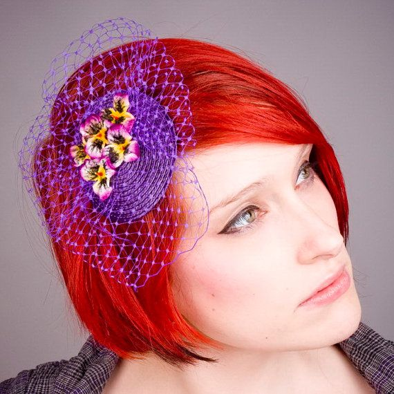 Purple Pansy Fascinator with Veiling and by ImogensImagination ... 5bd908cfb90