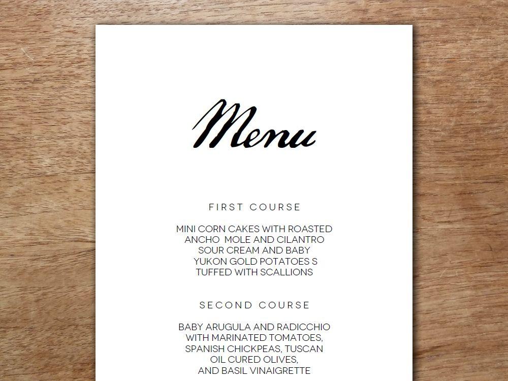 Printable menu calligraphy monogram wedding menu template