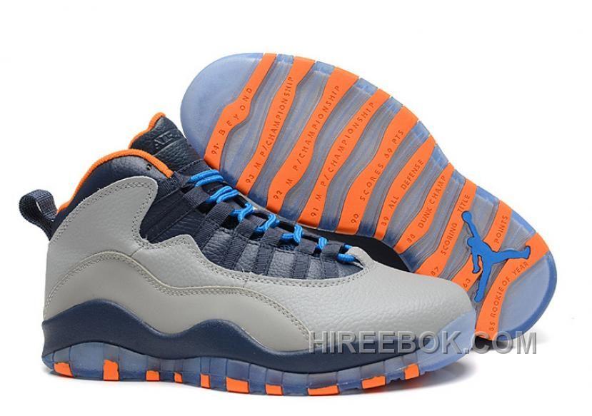 "Buy Air Jordans 10 Retro ""Bobcats"" Wolf Grey/New Slate-Atomic Orange-Dark  Powder Blue Online from Reliable Air Jordans 10 Retro ""Bobcats"" Wolf  Grey/New ..."