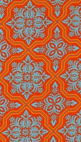 Orange and blue damask