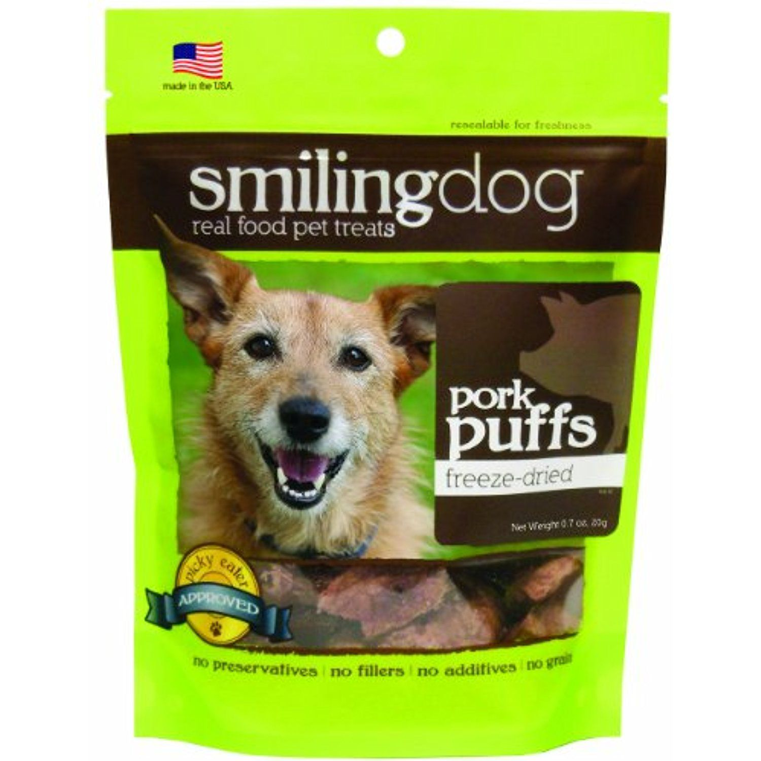 Herbsmith Smiling Dog Freeze Dried Pork Puff Treats for