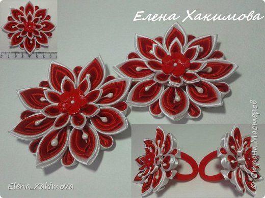 Украшение Цумами Канзаши Цветы из классических лепестков канзаши Ленты Ткань фото 1