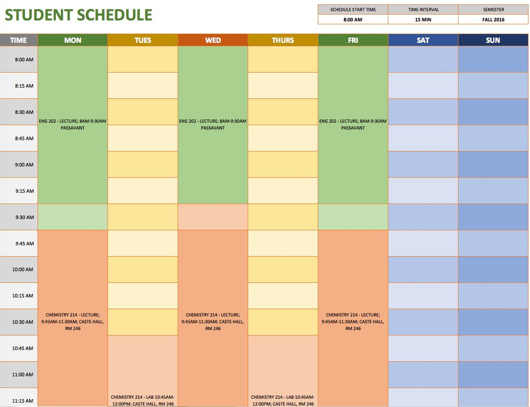 Free Weekly Schedule Templates For Excel Weekly Schedule