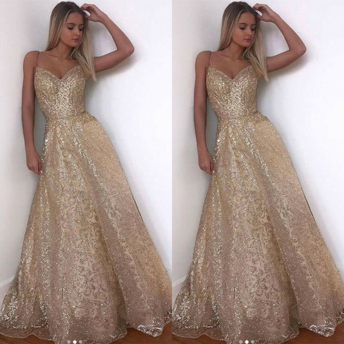 Damen Pailletten Kleid Abendkleid Party Hochzeit Maxikleid
