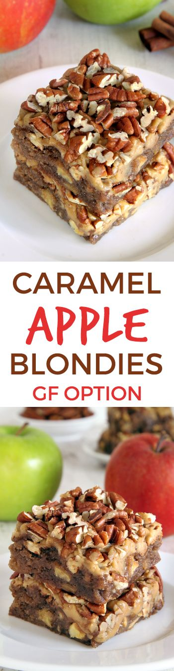 Apple Blondies with an amazingly delicious and easy caramel frosting! (gluten-free, whole grain and all-purpose flour options)