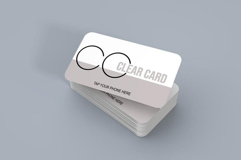 Clear Business Card Set Of 2 Plastic Qr Code Nfc Tap Enabled Etsy Clear Business Cards Business Card Set Plastic Business Cards Design