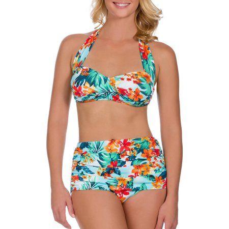 03dd3fc67e72b Suddenly Slim By Catalina Women s Slimming High-Waisted Bikini 2 Piece Set