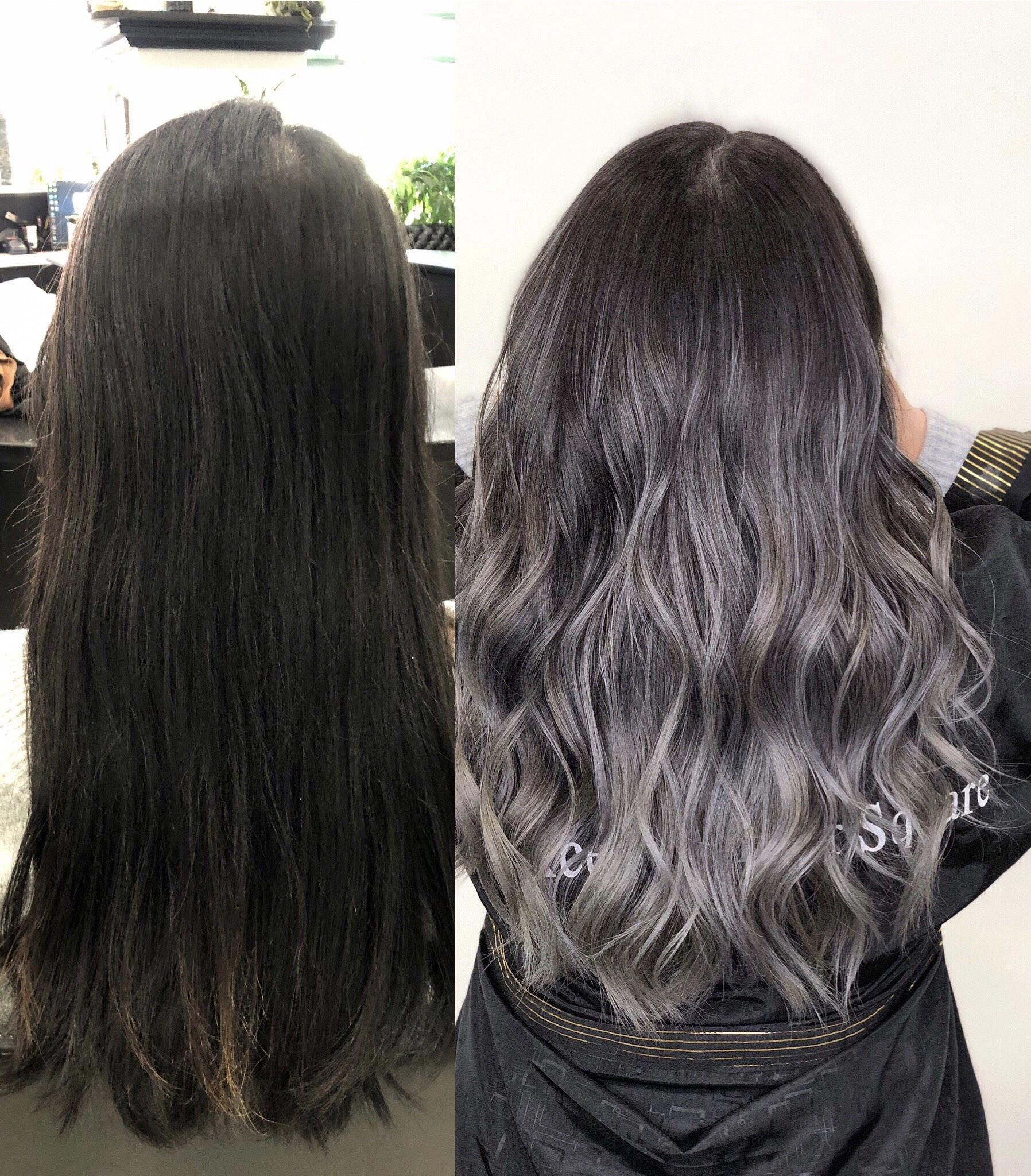 Xcellent Hair Square On Instagram From Black Hair To Ash Grey Balayage Ombre Highlights Swipe For In 2020 Gray Balayage Gray Hair Highlights Silver Hair Color