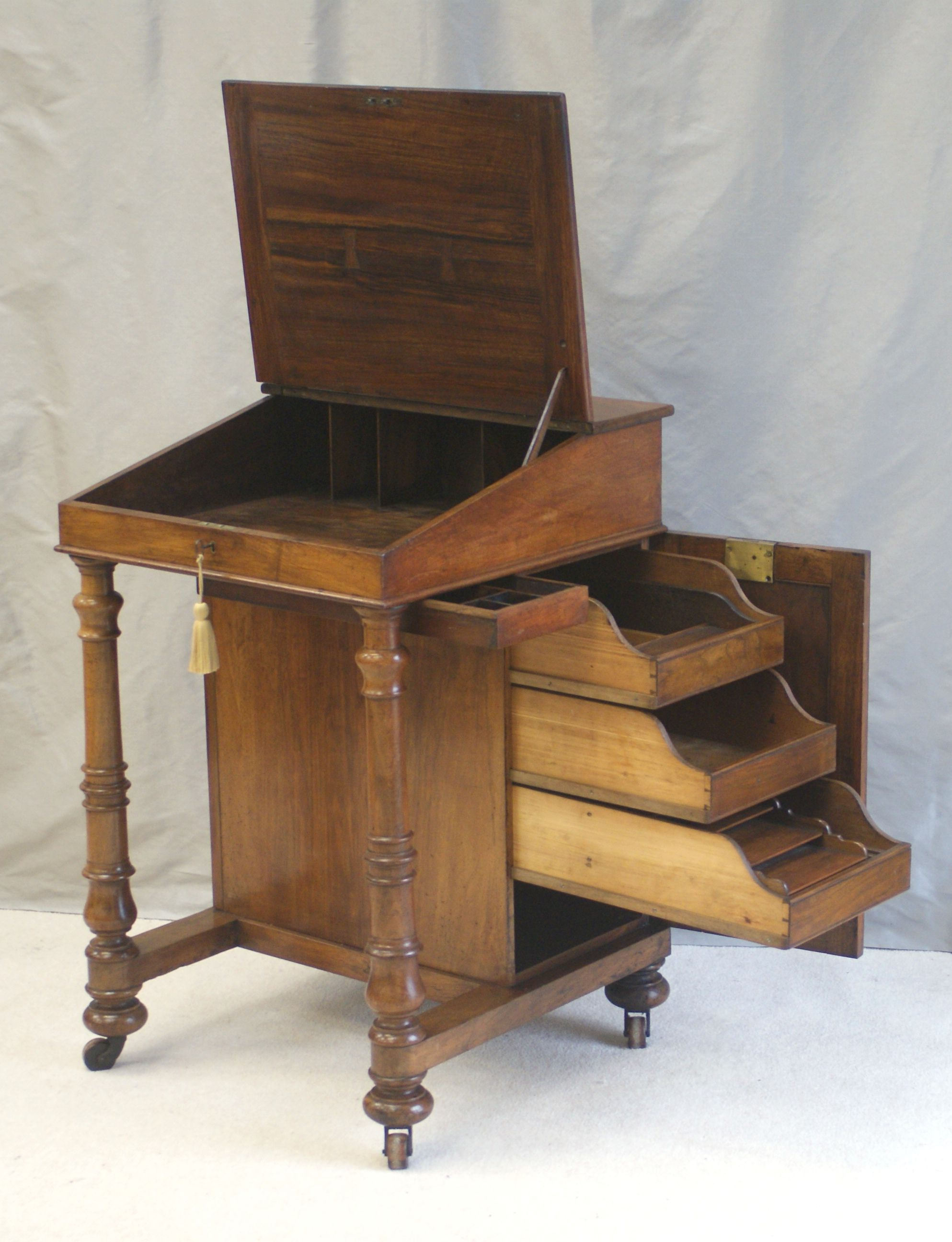 Unusual Solid Walnut Antique Davenport Writing Desk Or Clerks Cupboard Has Numerous Fully Ed
